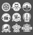 cinema white emblem set vector image vector image