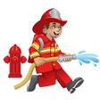 cute cartoon of firefighter vector image vector image