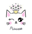 cute cat princess concept childrens vector image vector image