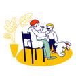 doctor logopedist working with little boy having vector image