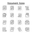 document icon set in thin line style vector image vector image