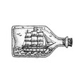 dotwork ship in glass bottle vector image vector image