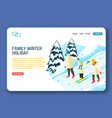 family winter holidays landing page vector image
