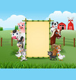 farm animals with a blank sign bamboo vector image