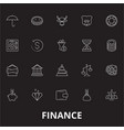 finance editable line icons set on black vector image vector image