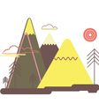 Flat colorful landscape Nature mountains trees vector image vector image