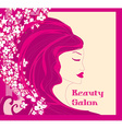 floral background with pretty woman vector image vector image
