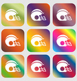 football helmet icon sign Nine buttons with bright vector image vector image