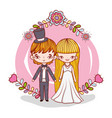 girl and boy marriage with flowers and branches vector image vector image
