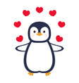 greeting card with cute penguin valentine day vector image vector image