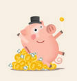 happy piggy bank with coins vector image vector image