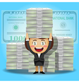 happy woman carrying stack of big dollar banknotes vector image