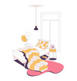home bedroom interior drawn in pink and yellow vector image vector image