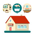 house icon with bedroom bathroom and living room vector image vector image