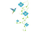 hummingbird and flowers vector image vector image