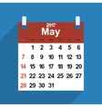 Leaf calendar 2017 with the month of May days vector image vector image