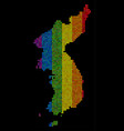 lgbt dotted north and south korea map vector image