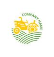 logo farm tractor emblem vector image
