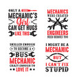 mechanic quote and saying set of mechanic quote vector image vector image