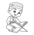 moslem boy reading quran bw vector image vector image