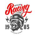 outlaw racing emblem template with cartoon racer vector image vector image