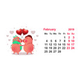 pig couple symbol 2019 year calendar grid vector image
