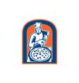 Pizza Maker Holding Pizza Peel Shield Woodcut vector image vector image