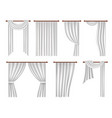 realistic window curtains and drapes set vector image