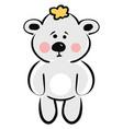 sad bear on white background vector image vector image