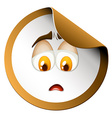 Sad face on round sticker vector image vector image