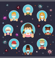 set human people wearing protective masks vector image