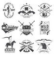 set knight historical and cowboy club design vector image vector image