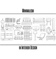 set of 25 items minimalism in interior design vector image vector image