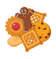 set of biscuits of various types vector image