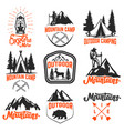 set of mountain camp emblems outdoor tourism vector image vector image