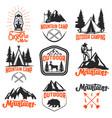 set of mountain camp emblems outdoor tourism vector image
