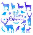 set of watercolor deers and birds vector image