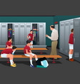 soccer coach talking to players in locker vector image