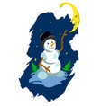 stock snowman and moon vector image vector image