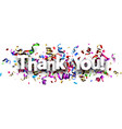 thank you banner with colorful serpentine vector image vector image