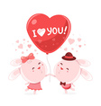two pink bunny holding big red balloon wi vector image