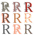 various combination fishnet letter r vector image vector image