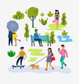 various people at park outdoor activities vector image vector image