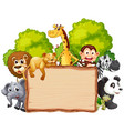 wild animal on wooden banner vector image vector image