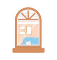 window facade exterior building isolated icon vector image