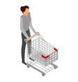 woman with shop cart icon isometric style vector image vector image