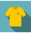 Yellow soccer shirt icon flat style vector image vector image
