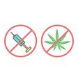 no drugs and no cannabis icon vector image