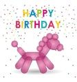 happy birthday pink balloon horse shape confetti vector image