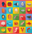 seafood fresh fish food icons set flat style vector image